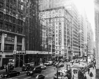 NYC Photography, city street scene, Manhattan city buildings, black and white photography, Urban Home Decor.