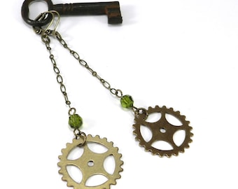 Industrial Gear Earrings - Brass Bicycle Sprocket Gear - Long Dangle Earrings - Green Accent