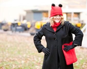 Felt hand bag Red Black wool Handbag Original woman bag Great Christmas gift
