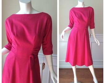 Vintage 1960s R&K Originals Pink A Line Wool Dress // 1960s Work Dress in Hot Pink // Vintage MadMen Style A Line Dress