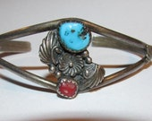 "Bisbee Turquoise & Coral Cuff Silver Cuff Bracelet Signed Navajo Hand Crafted ""Desert Flower"" Vintage Beauty"