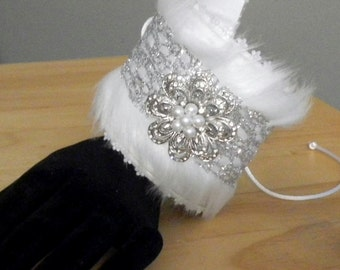 Custom Designed Cuff Bracelet - Recycled Tin - Winter White - Formal - Asymmetrical Twist Bracelet - Bridal - Special Occasion