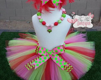 WHOVILLE Dr. Seuss inspired- Pink, Red, Green, polka dot feather baby/child Tutu with hairbow:  Newborn-5T