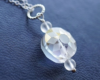 Summer Outdoors Gift for her Crystal Necklace Unique Faceted Crystal Diamond Cut Fine Sterling Silver Chain Clear Crystal Frosted Beads