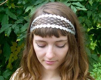 20's birdcage net headband, silver gatsby era headband, veil alternative, costume 1920's flapper or edwardian headband