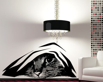 Vinyl Wall Art Decal Sticker Hiding Cat 5474s