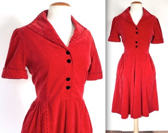 Vintage 1950s Dress // 50s Ruby Red Velvet Party Dress with Stitch Detail // Heartbeat // DIVINE