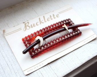 Vintage 1950's Red Hair Barrette // Small Rhinestones // Bucklette Brand