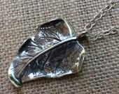 Sterling Silver Leaf Necklace,Sterling Silver Necklace,Tropical Leaf Sterling Silver necklace,Nature Inspired Sterling Silver necklace