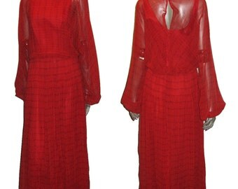 VTG Designer Victor Costa Red Chiffon See Thru Sheer Horizontal Stripe Printed Lace Trim Pleated Blouson Poet Sleeve Long Boho Dress 10, 12