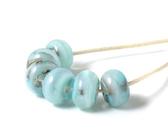 Lampwork Beads | Sky Blue Lampwork Glass Bead Set | Light Blue Handmade Beads | UK SRA