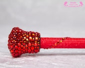 Red Riding Crop, Crystal, rhinestone, fetish, flogger, whip, Goth, Victorian, Steampunk, BDSM, bondage, horse, pony girl, 50 shades, Grey
