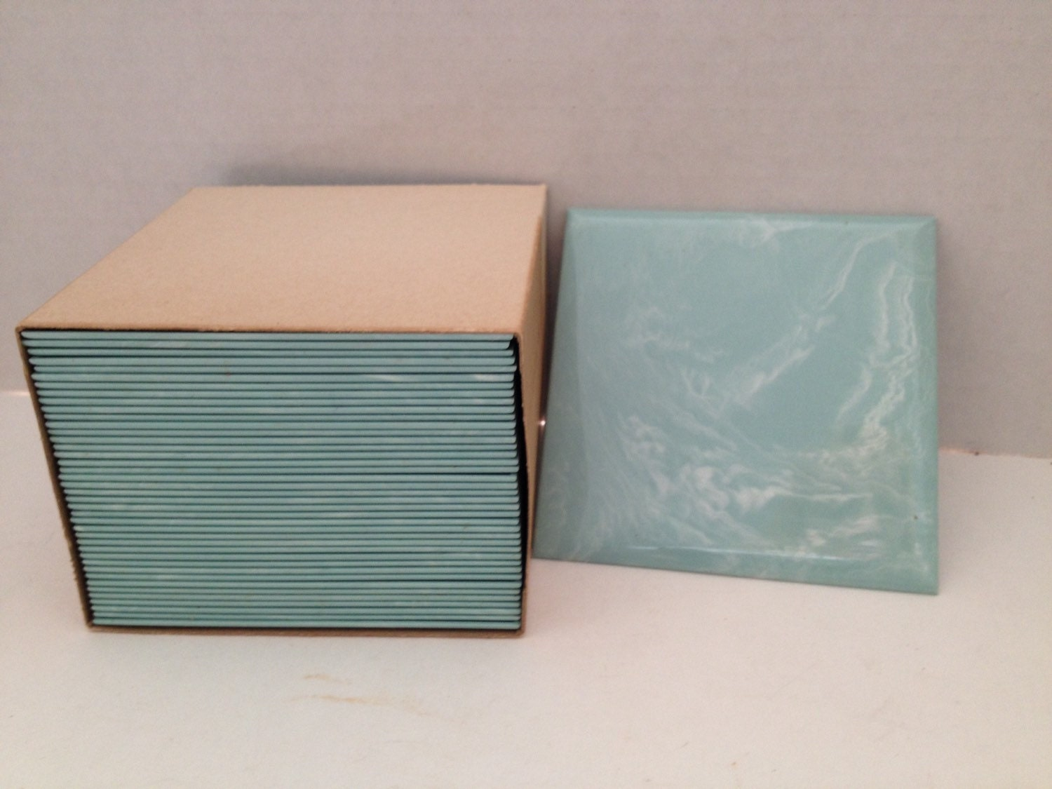 Plastic wall tiles lot of 110 blue turquoise styron montgomery