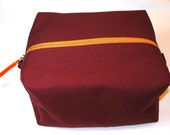 Marsala wine maroon burgundy square boxy cosmetic makeup toiletries shaving wash travel bag dopp kit unisex contrast zipper laminated lining