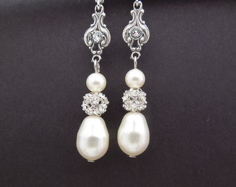 Bridal Earrings, pearl rhinestone earrings, Rhinestone Wedding Earrings, Chandeliers bridal Earrings, swarovski crystal earrings, CORRINE