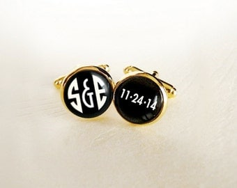 Gold You and Me Art Deco Monogram Custom Love Cufflinks Personalized with Your Initials and Wedding or Anniversary Date