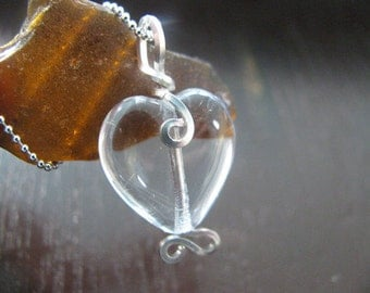 "Half Price Quartz Crystal Heart Sterling Necklace on Silver 18"" Ball Chain"