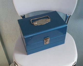 20% off Icy blue vintage metal index file box with silver handle, retro office, vintage office, vintage home