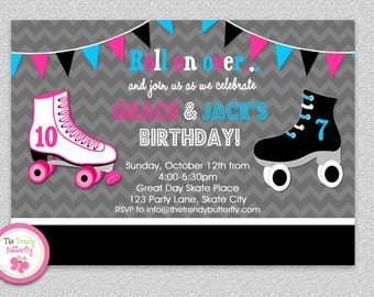 Siblings Roller Skating Birthday Invitation, Boys Girls Roller Skating Birthday Party Invitation Printable
