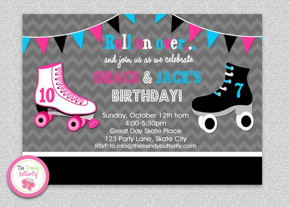 siblings roller skating birthday invitation by thetrendybutterfly, Birthday invitations