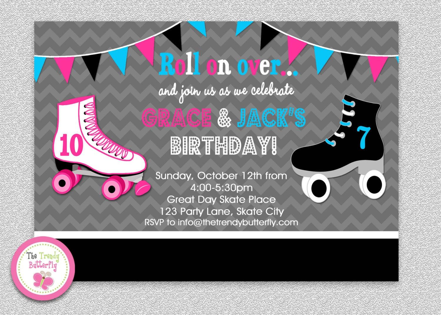 Siblings Roller Skating Birthday Invitation Boys Girls Roller