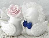 Love Birds Wedding Cake Topper, White, Blush Pink, Navy Blue, Bride and Groom Keepsake, Fully Customizable