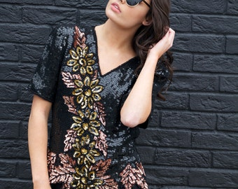 Bronwyn, Vintage,1970s Black, Bronze and Gold Sequin Floral Disco Top, from Paris