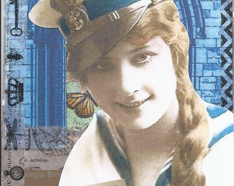 Sailor Girl Paper Collage