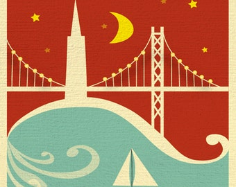 San Francisco Print, Bay Bridge Art  Print, San Francisco Vertical Wall Art, San Francisco Nursery Print, SF Poster, SF Art, style E8-O-SF10