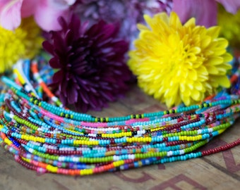 Set of 3 Seed Bead Necklace - Glass Bead Strand - Single Strand Bead Necklace - Choker - Short Necklace - Layering Necklace - Gifts for her