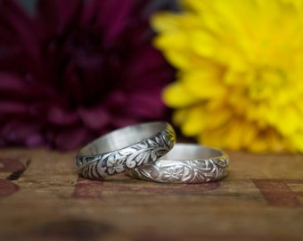Women's Wedding Band - Sterling Silver Ring - Floral Band - Unique Wedding Band - Stacking Ring - under 50 - Gift for her Girlfriend Wife
