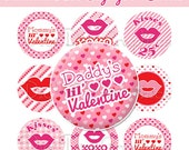"""Valentine's Day Kiss Sayings Bottle Cap 1"""" Circles Images - Daddy / Mommy Lil Valentine - NO.233"""