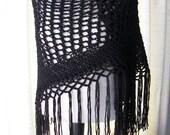 Hand Knit SHAWL Triangle Scarf in Anti Pill Acrylic yarn Pure White or Black  / Bridal Shawl