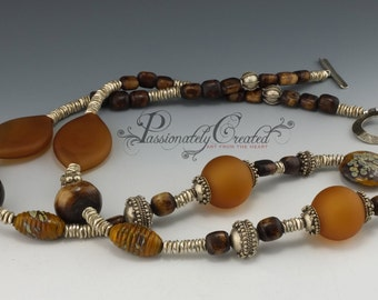 African Honey Glass Necklace