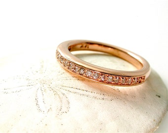 Rose Gold Diamond Ring, Thin Diamond Band, Stackable Band, Stacking Ring, 14 Kt, Pink Gold Anniversary Gift, Rose Gold Diamond Wedding Band