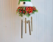 Vintage Snowman Christmas Chimes,  Kitsch Christmas Decoration, Snowman Decor, 1960s Christmas, Xmas Wind Chime, Holiday, Retro Christmas