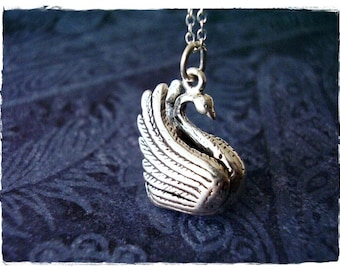 Large Silver Swan Necklace - Large Sterling Silver Swan Charm on a Delicate Sterling Silver Cable Chain or Charm Only