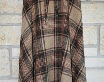 Vintage Falling Leaves 1960s Plaid Skirt