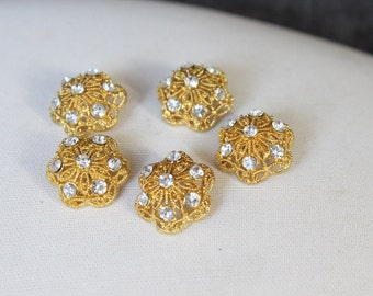 Cute   button with rhinestones gold color  2  piece listing