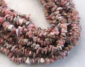 """Rhodochrosite Chip Beads, Natural Gemstone Beads, Semi Precious, Stone Beads,  Jewelry Making Beads, Pinkish Brown Beads, 15"""" Strand"""