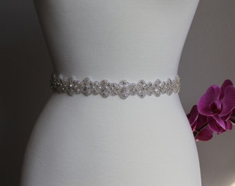 16 to 36 in rhinestone applique, rhinestone trim bridal sash, wedding sash, bridal headband, wedding headband,  bridal belt, rhinestone belt