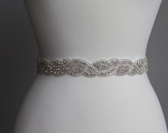 16 in to 36 in beaded rhinestone applique, trim, bridal sash, wedding sash, bridal headband, wedding headband,  bridal belt, rhinestone belt