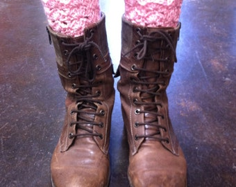 Lacy Boot Toppers - Leg Warmers - Ribbed Boot Cuffs - Reversible - Soft Pink