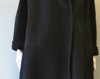 Stunning Vintage 1960s Black  Wool Coat