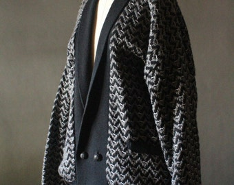 Vintage 80's Black, Grey and White Chevron Tweed Double Breasted Cardigan Sweater Jacket by First Class