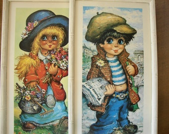 2 VINTAGE Mod Children Pictures Wood & Glass Framed Faux White Bamboo Big Blue Eyed Boy And Girl Mid Modern Wall Art Wall Hanging Pictures