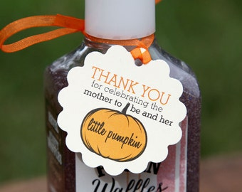 Thank You for Celebrating the Mother to Be and Her Little Pumpkin Tags, Perfect for Baby Showers, Pumpkin, Sanitizers, Baby, Fall