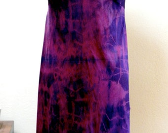 Slip Dress: Upcycled Vintage Shibori Dyed in Red/Purple Abstract Print One of a Kind Art Clothing Boho Evening Festival wear/Valentine Gift