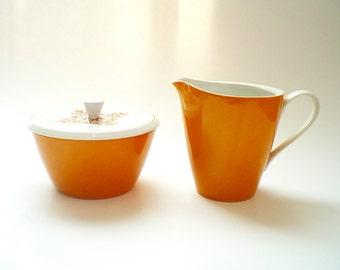 Mid Century China Cream and Sugar Porcelain Creamer & Sugar / Creamer Harvest Gold Retro Kitchen Decor