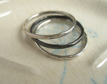 Thick Silver Stacking Ring // First Knuckle // Silver or Oxidized